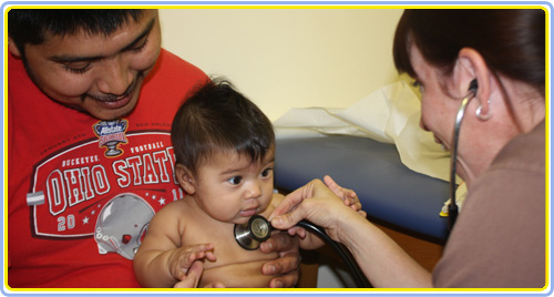 Pediatric patient being examined at Dr. Brown's office